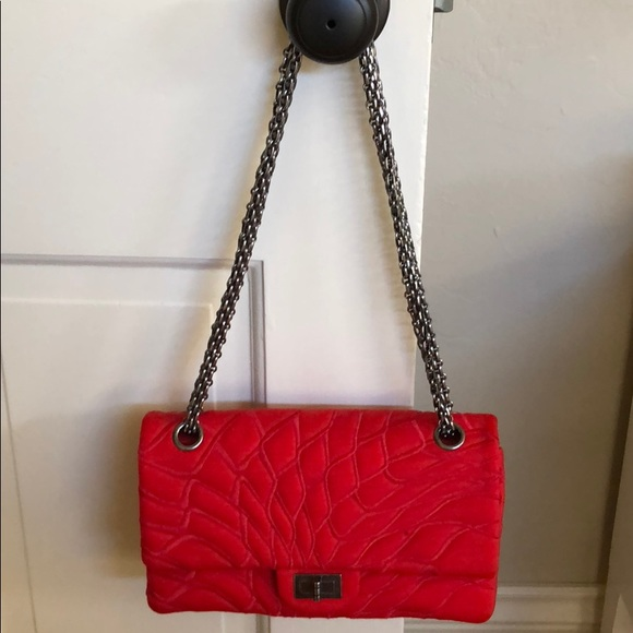 7a4c8a0fc087 CHANEL Handbags - Chanel red jersey classic flap purse